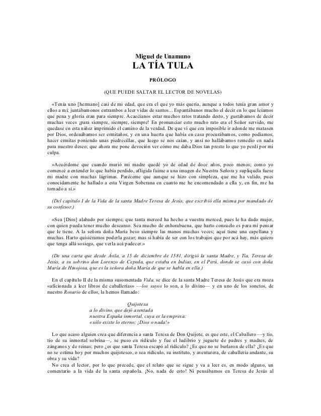 Miguel de Unamuno                                         LA TÍA TULA                                                 PRÓL...
