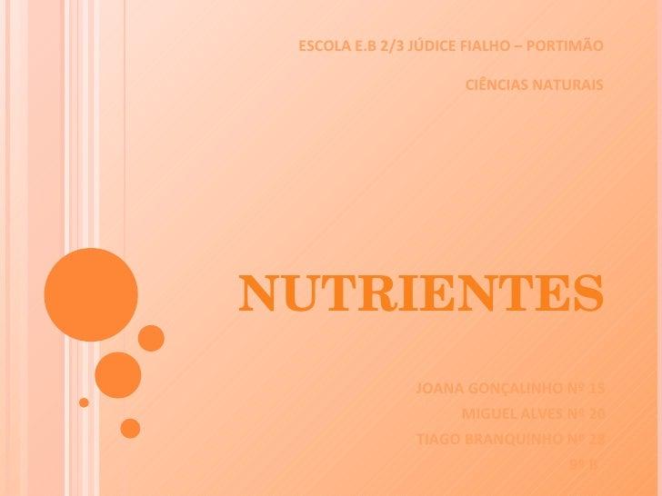 NUTRIENTES JOANA GONÇALINHO Nº 15 MIGUEL ALVES Nº 20 TIAGO BRANQUINHO Nº 28 9º B  ESCOLA E.B 2/3 JÚDICE FIALHO – PORTIMÃO ...