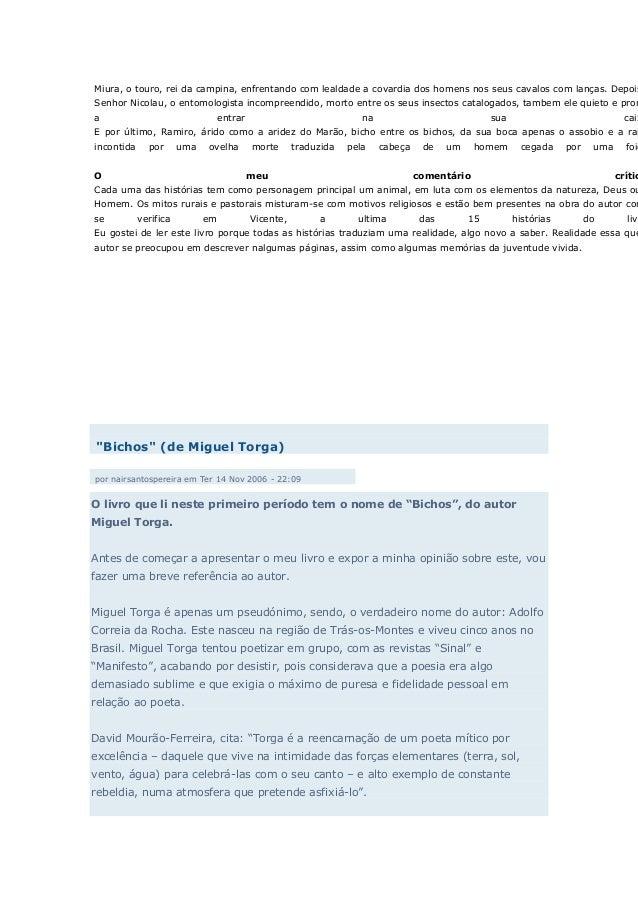Bichos Miguel Torga Pdf