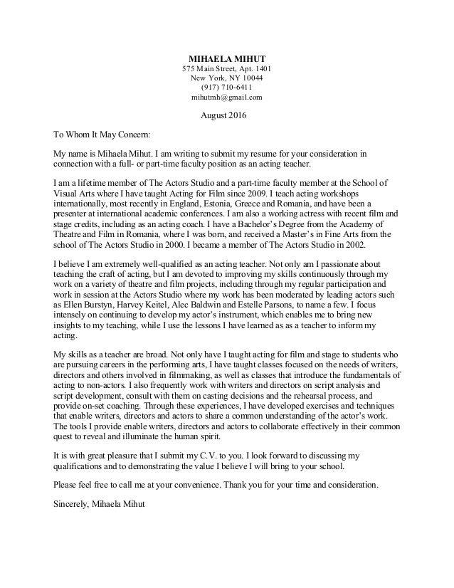 Acting Teacher Cover Letter