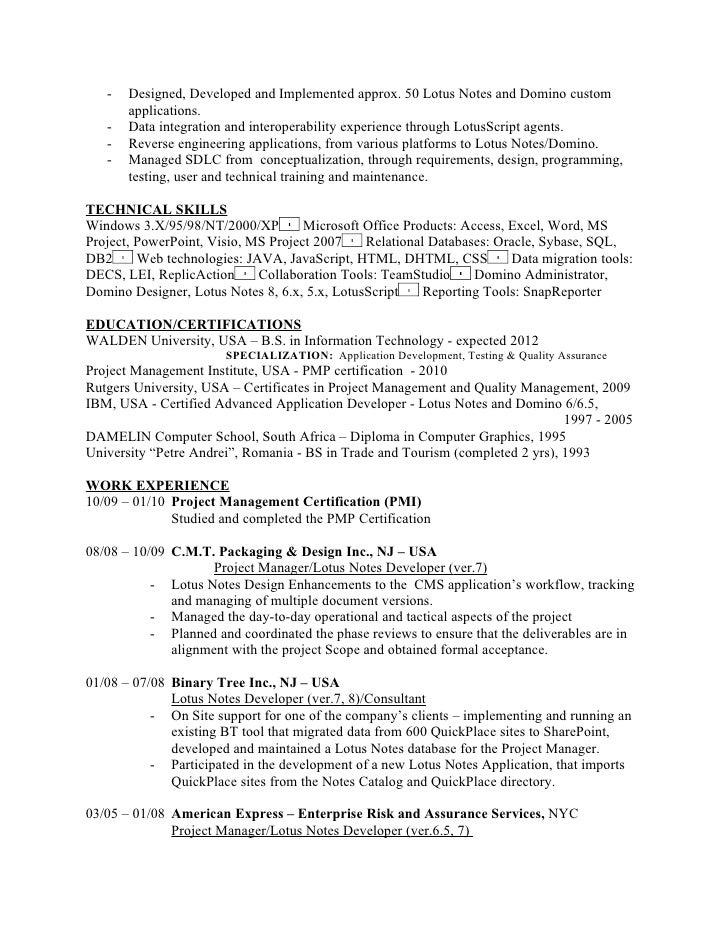 lotus notes resume