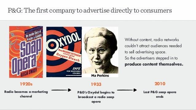 P&G:Thefirstcompanytoadvertisedirectlytoconsumers 1933 P&G's Oxydol begins to broadcast a radio soap opera 2010 Last P&G s...