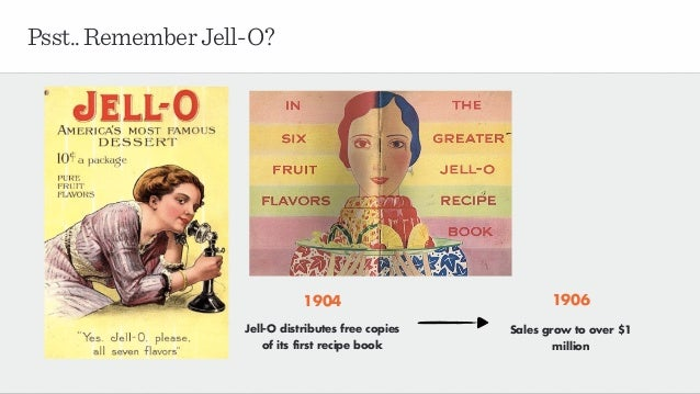 Psst..RememberJell-O? 1904 Jell-O distributes free copies of its first recipe book 1906 Sales grow to over $1 million