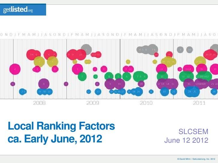 Local Ranking Factors       SLCSEMca. Early June, 2012    June 12 2012                           © David Mihm / GetListed....