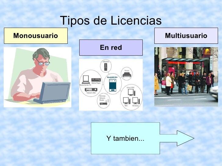 Tipos de Licencias Monousuario Multiusuario En red Y tambien...