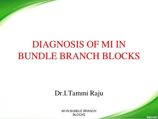 DIAGNOSIS OF MI IN BUNDLE BRANCH BLOCKS Dr.I.Tammi Raju MI IN BUNDLE BRANCH BLOCKS