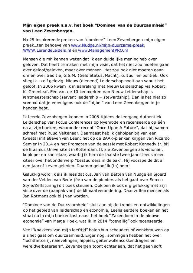 """Mijn eigen preek n.a.v. het boek """"Dominee van de Duurzaamheid"""" van Leen Zevenbergen. Na 25 inspirerende preken van """"domine..."""