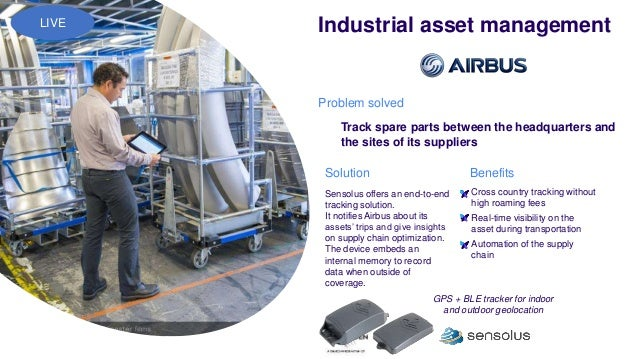 Sensolus offers an end-to-end tracking solution. It notifies Airbus about its assets' trips and give insights on supply ch...