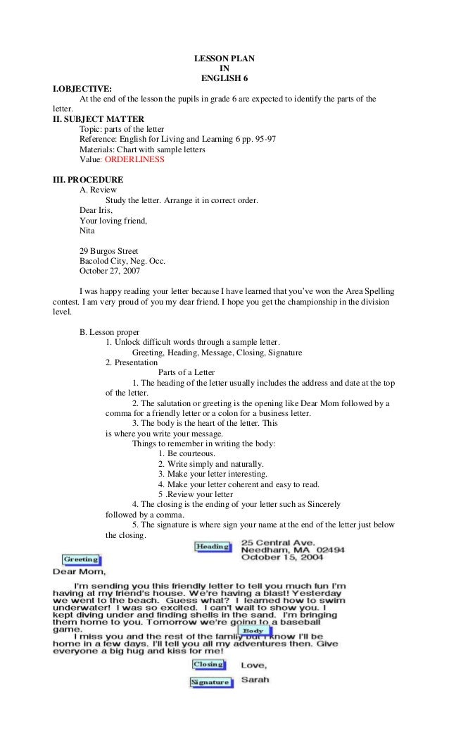 Sample Letters Grade 6. LESSON PLAN IN ENGLISH 6 I OBJECTIVE  At the end of lesson plan for grade