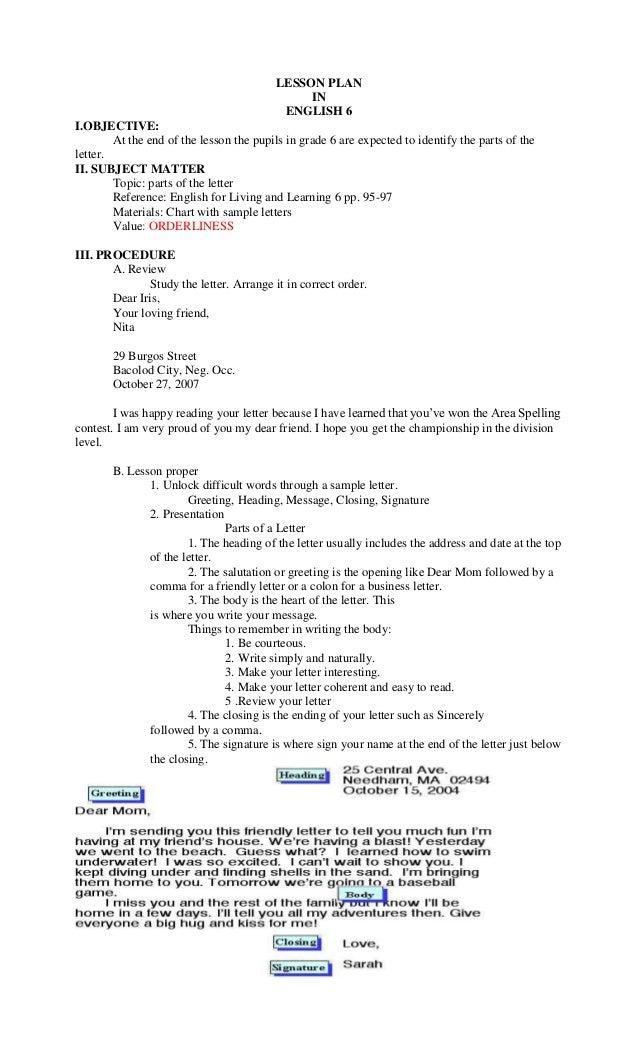 Lesson Plan For Grade 6