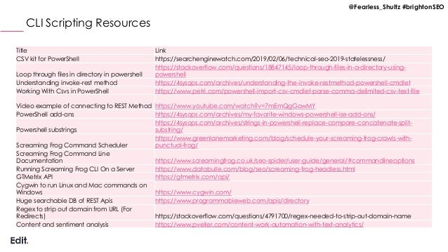 @Fearless_Shultz #brightonSEO CLI Scripting Resources Title Link CSV kit for PowerShell https://searchenginewatch.com/2019...