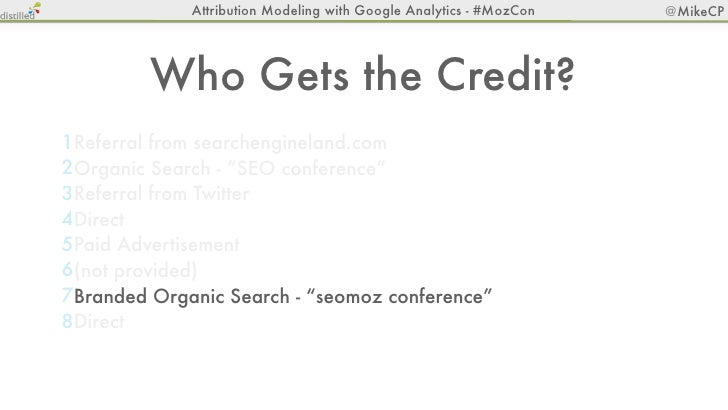 Attribution Modeling with Google Analytics - #MozCon   @MikeCP         Who Gets the Credit?1Referral from searchengineland...