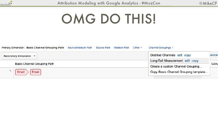 Attribution Modeling with Google Analytics - #MozCon   @MikeCP                              Step 2 & 3bit.ly/mozmodeling