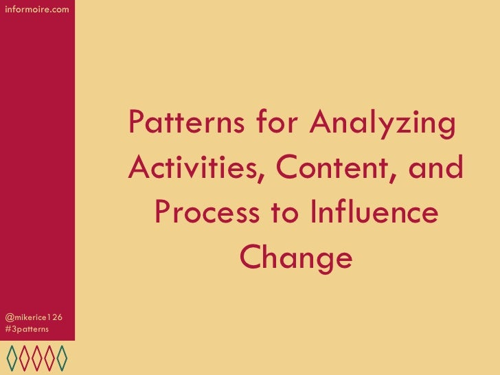 informoire.com                 Patterns for Analyzing                 Activities, Content, and                  Process to...