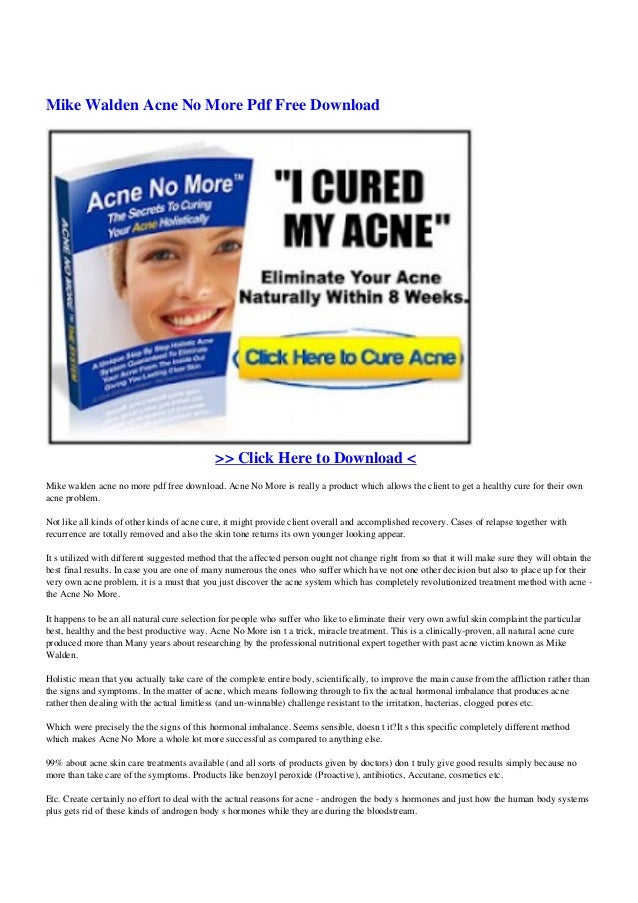 acne no more book by mike walden free download