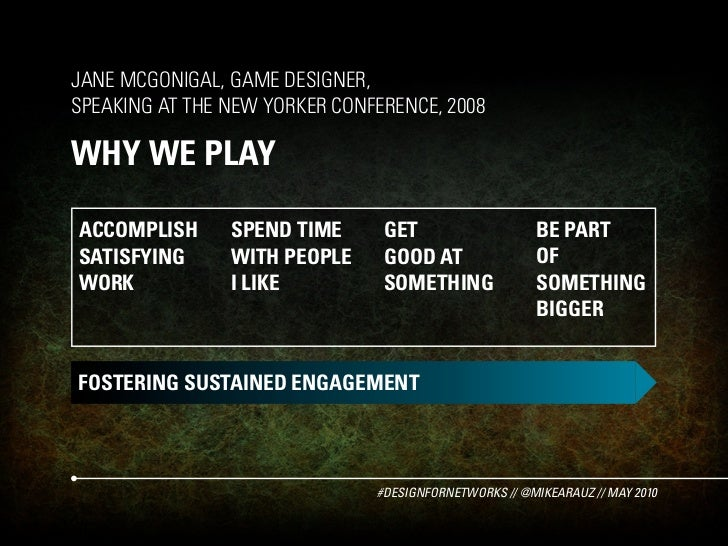 JANE MCGONIGAL, GAME DESIGNER, SPEAKING AT THE NEW YORKER CONFERENCE, 2008  WHY WE PLAY  ACCOMPLISH      SPEND TIME      G...