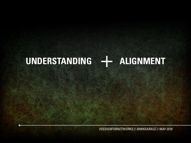 UNDERSTANDING   +           ALIGNMENT                     #DESIGNFORNETWORKS // @MIKEARAUZ // MAY 2010