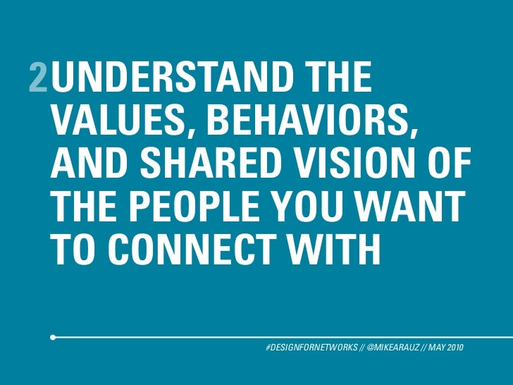 2 UNDERSTAND THE   VALUES, BEHAVIORS,   AND SHARED VISION OF   THE PEOPLE YOU WANT   TO CONNECT WITH             #DESIGNFO...