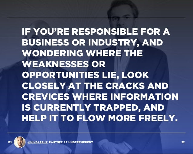 IF YOU'RE RESPONSIBLE FOR A BUSINESS OR INDUSTRY, AND WONDERING WHERE THE WEAKNESSES OR OPPORTUNITIES LIE, LOOK CLOSELY AT...