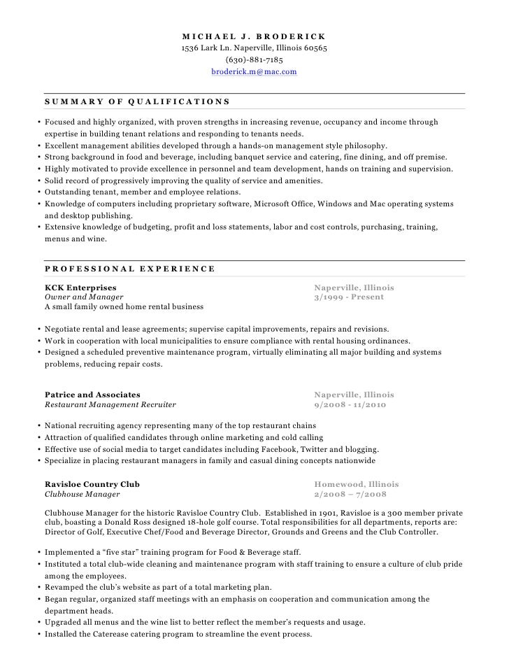Restaurant Kitchen Manager Resume fine dining manager resume