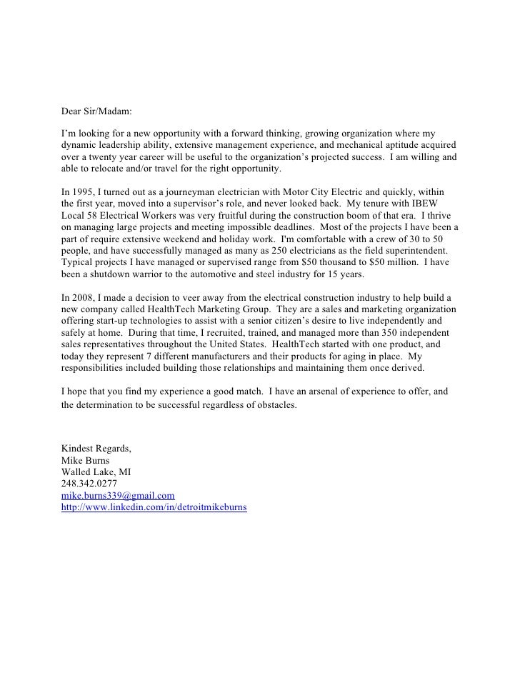 cover letter looking for new opportunities - mike burns cover letter 2011