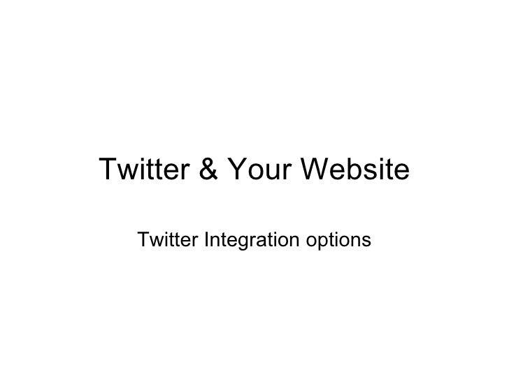Twitter & Your Website Twitter Integration options