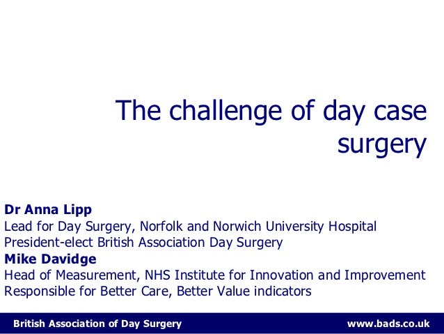 The challenge of day case                                       surgeryDr Anna LippLead for Day Surgery, Norfolk and Norwi...
