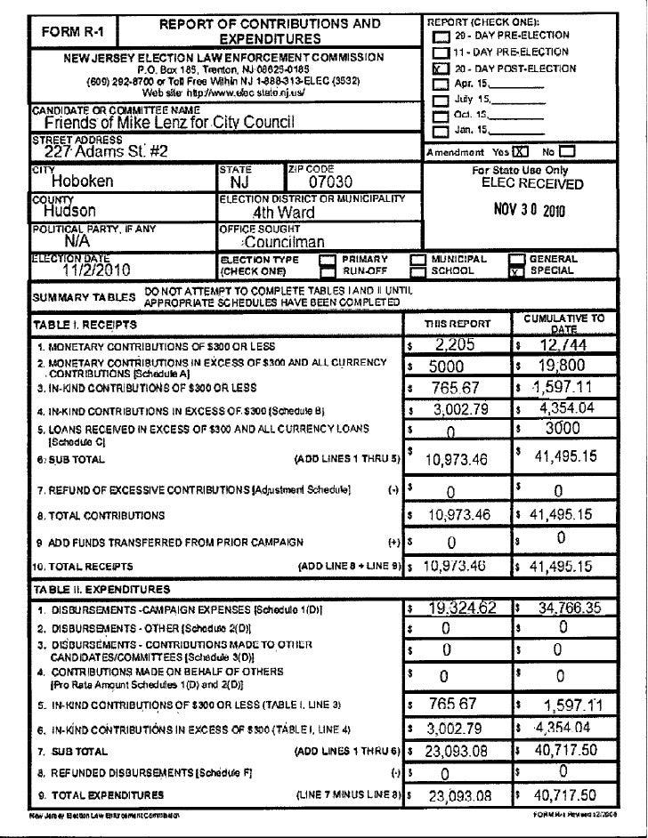 Mike Lenz ELEC report 11-30-2010