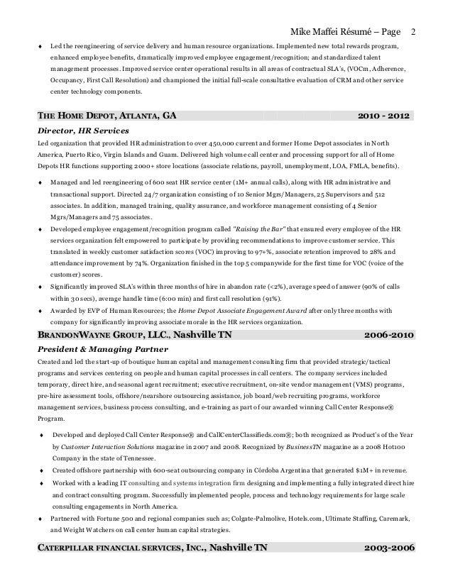 Home Depot Employee Benefits >> Mike maffei resume