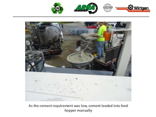 As the cement requirement was low, cement loaded into feed hopper manually