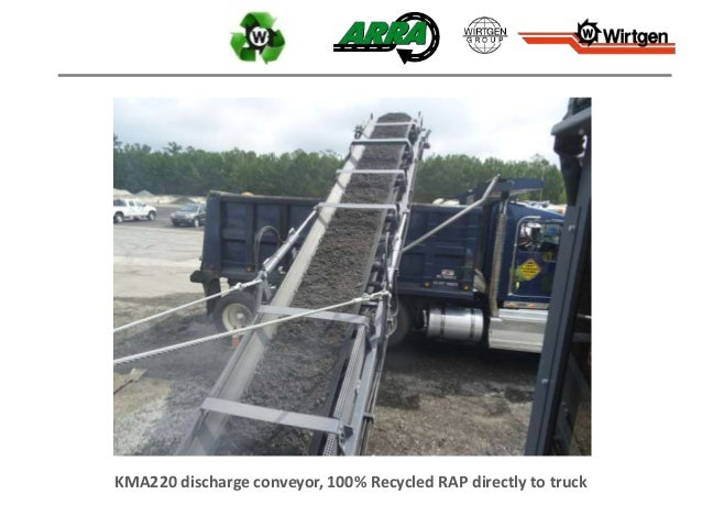 KMA220 discharge conveyor, 100% Recycled RAP directly to truck