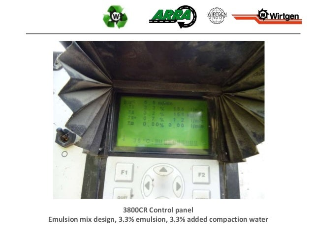3800CR Control panel Emulsion mix design, 3.3% emulsion, 3.3% added compaction water