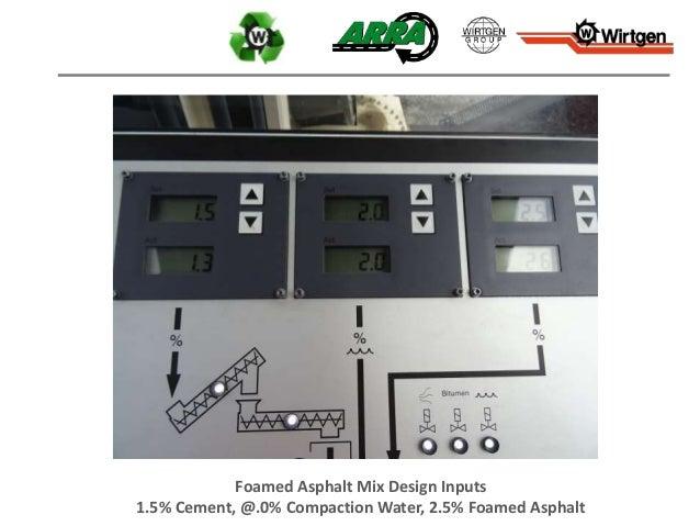Foamed Asphalt Mix Design Inputs 1.5% Cement, @.0% Compaction Water, 2.5% Foamed Asphalt