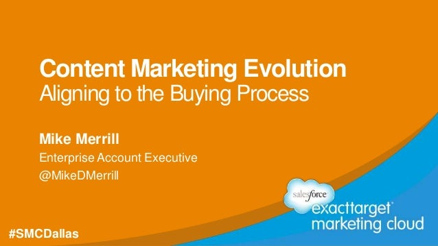 #SMCDallas @MikeDMerrill Content Marketing Evolution Aligning to the Buying Process Mike Merrill Enterprise Account Execut...
