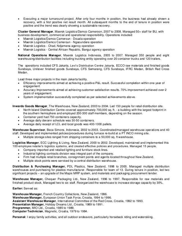 2 - Warehouse Distribution Resume
