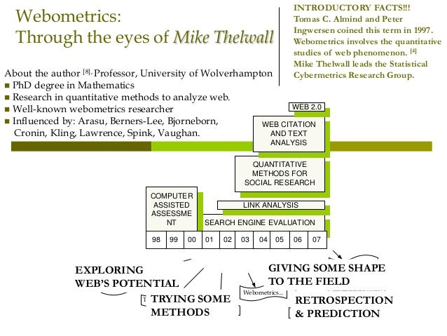 Webometrics: Through the eyes of Mike Thelwall About the author [8], Professor, University of Wolverhampton  PhD degree i...
