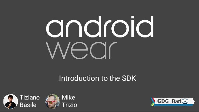 Introduction to the SDK Tiziano Basile Mike Trizio