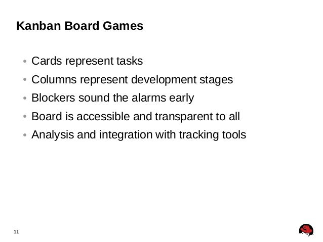 11 Kanban Board Games ● Cards represent tasks ● Columns represent development stages ● Blockers sound the alarms early ● B...