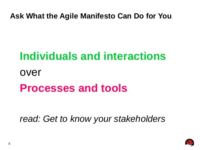 6 Ask What the Agile Manifesto Can Do for You Individuals and interactions over Processes and tools read: Get to know your...