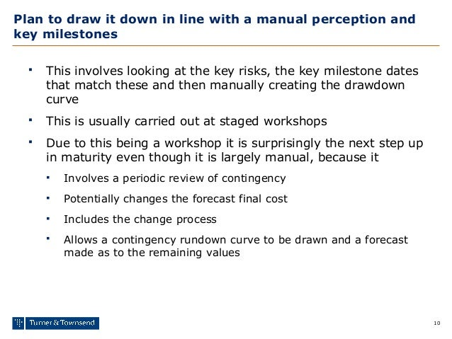 10 Plan to draw it down in line with a manual perception and key milestones  This involves looking at the key risks, the ...
