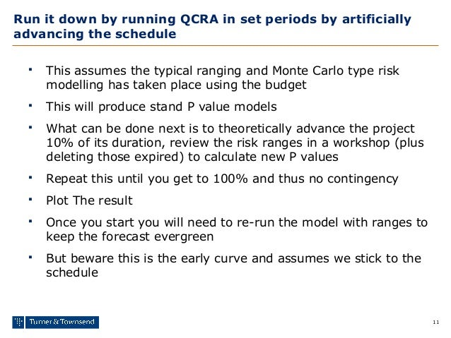 11 Run it down by running QCRA in set periods by artificially advancing the schedule  This assumes the typical ranging an...