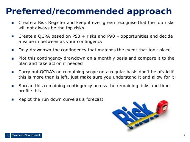14 Preferred/recommended approach ■ Create a Risk Register and keep it ever green recognise that the top risks will not al...
