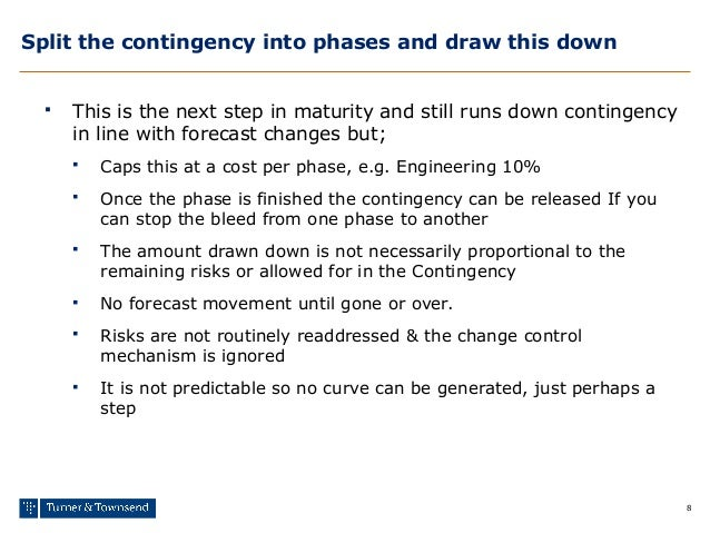 8 Split the contingency into phases and draw this down  This is the next step in maturity and still runs down contingency...
