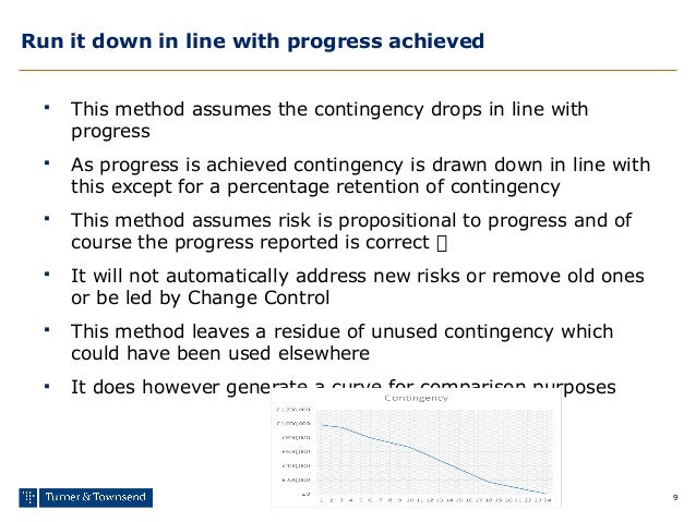 9 Run it down in line with progress achieved  This method assumes the contingency drops in line with progress  As progre...