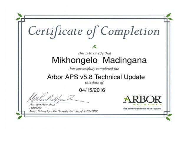 Mikhongelo Madingana Arbor Aps V58 Technical Update Certificate