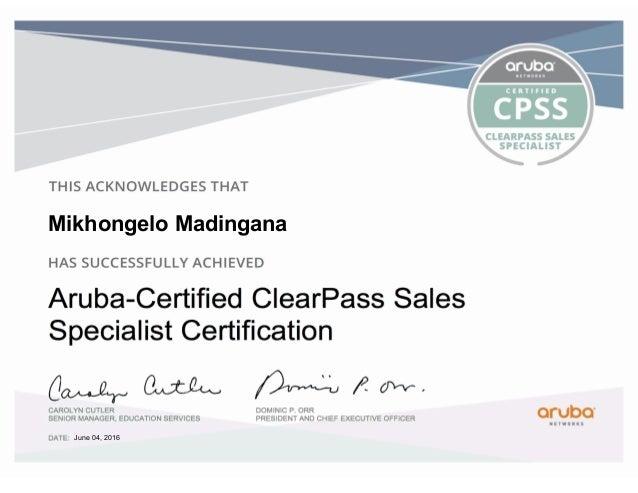 Mikhongelo madingana Aruba clear pass sales specialist certification