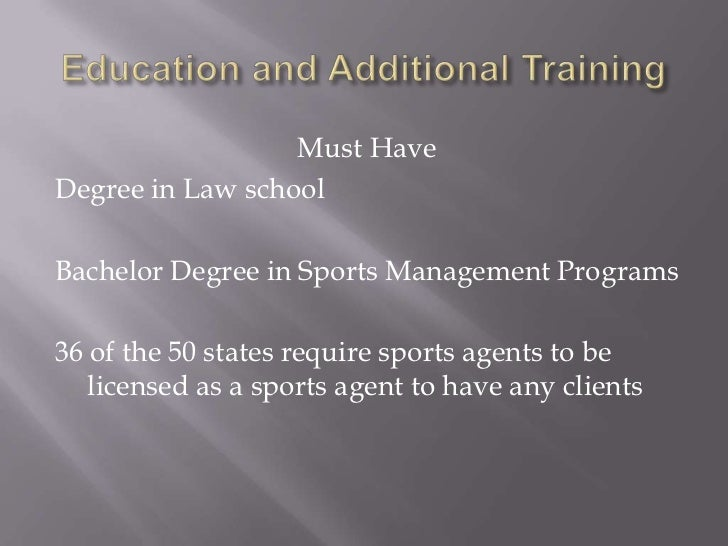 What degree is needed to be a sports agent?