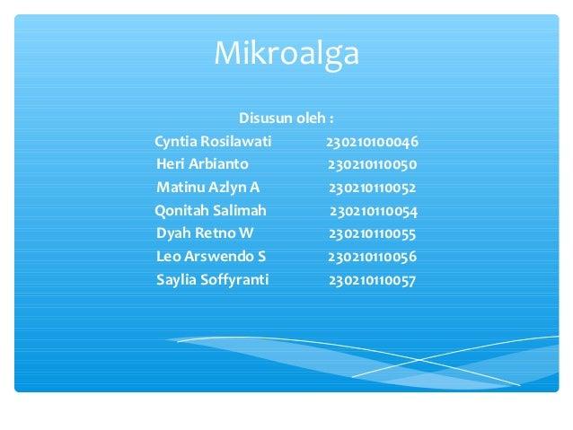 Mikroalga             Disusun oleh :Cyntia Rosilawati        230210100046Heri Arbianto             230210110050Matinu Azly...