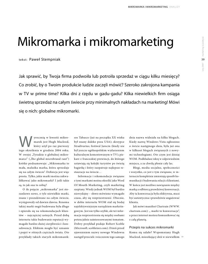 MikroMarka i MikroMarketing analizy     Mikromarka i mikromarketing                                                       ...