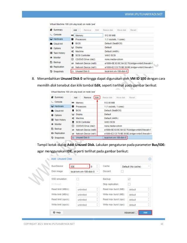 COPYRIGHT 2021 WWW.IPUTUHARIYADI.NET 13 WWW.IPUTUHARIYADI.NET 8. Menambahkan Unused Disk 0 sehingga dapat digunakan oleh V...
